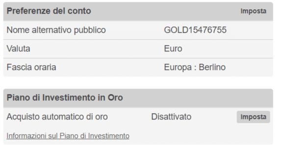 oro investimento automatico
